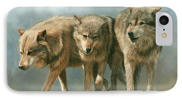 Three Wolves IPhone Case by David Stribbling
