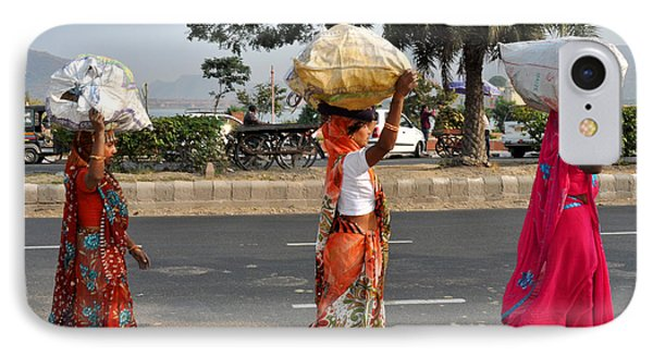 IPhone Case featuring the photograph Three Women Carry Bundles Jaipur Rajasthan India by Diane Lent