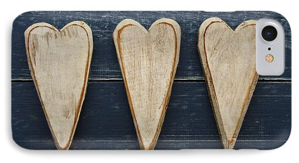 Three Wooden Hearts Phone Case by Carol Leigh
