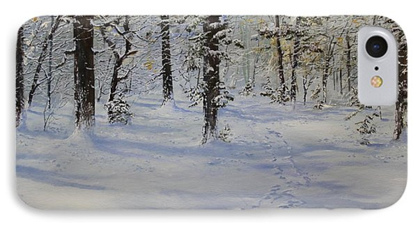 IPhone Case featuring the painting Through The Snowy Woods by Ken Ahlering