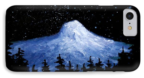 IPhone Case featuring the painting Thumb Butte By Moonlight by Fred Wilson