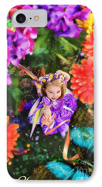 Thumbelina Looks Up Holding Her Butterfly In Fairy Tale Garden Phone Case by Fairy Tales Imagery Inc