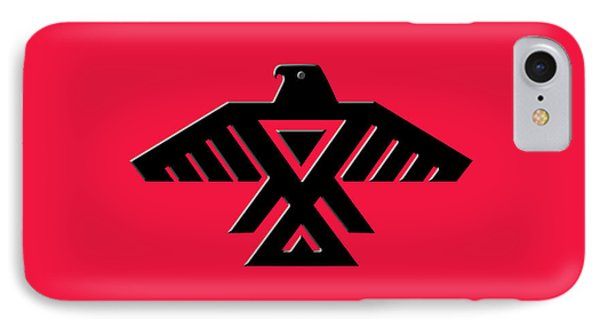 Thunderbird Emblem Of The Anishinaabe People Black On Red Version IPhone Case