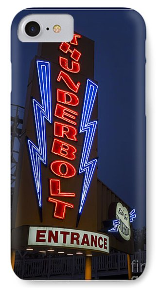 Thunderbolt Rollercoaster Neon Sign Phone Case by Edward Fielding