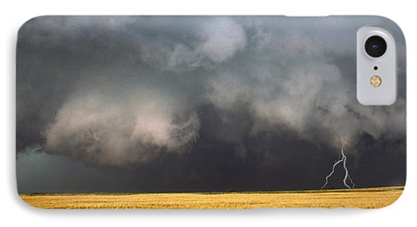 Thunderstorm Advancing Over A Field IPhone Case