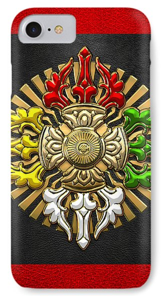 Tibetan Double Dorje Mandala - Double Vajra On Black And Red IPhone Case by Serge Averbukh