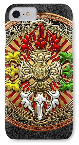 Tibetan Double Dorje Mandala - Double Vajra On Black Leather IPhone Case by Serge Averbukh