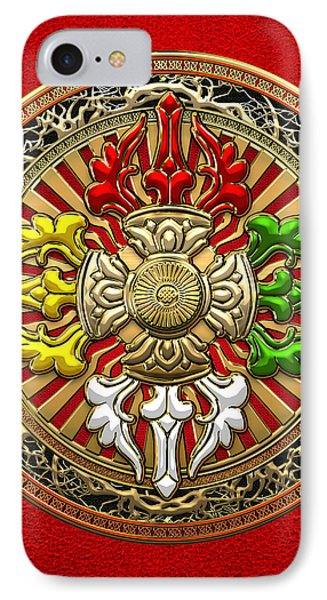 Tibetan Double Dorje Mandala - Double Vajra On Red Leather IPhone Case by Serge Averbukh