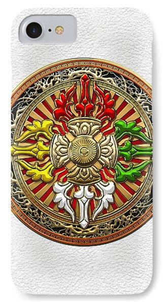 Tibetan Double Dorje Mandala - Double Vajra On White Leather IPhone Case by Serge Averbukh