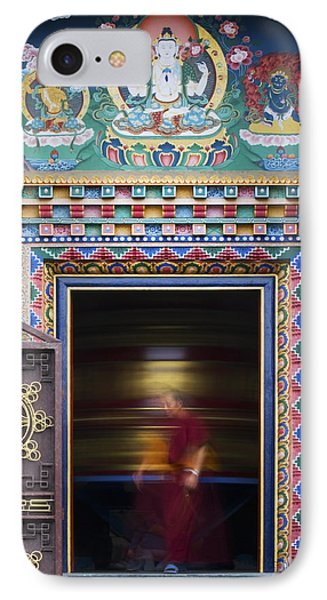 Tibetan Monk And The Prayer Wheel Phone Case by Tim Gainey