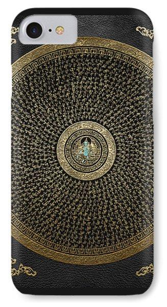 Tibetan Thangka - Green Tara Goddess Mandala With Mantra In Gold On Black IPhone Case by Serge Averbukh