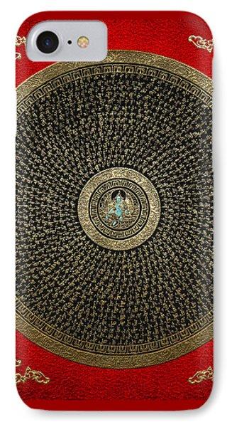 Tibetan Thangka - Green Tara Goddess Mandala With Mantra In Gold On Red IPhone Case by Serge Averbukh