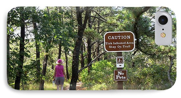 Tick Warning Sign On Hiking Trail IPhone Case