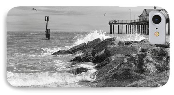 Tide's Turning - Black And White - Southwold Pier IPhone Case by Gill Billington