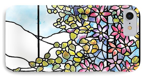 Stained Glass Tiffany Floral Skylight - Fenway Gate IPhone Case by Donna Walsh