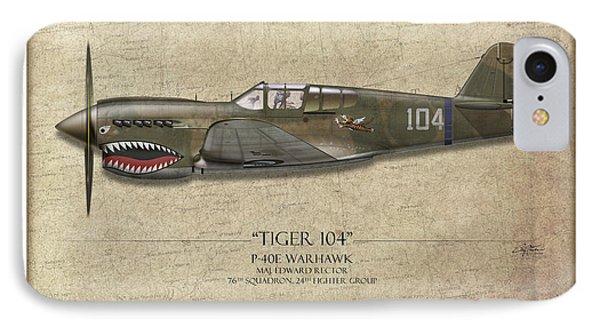 Tiger 104 P-40 Warhawk - Map Background IPhone Case by Craig Tinder