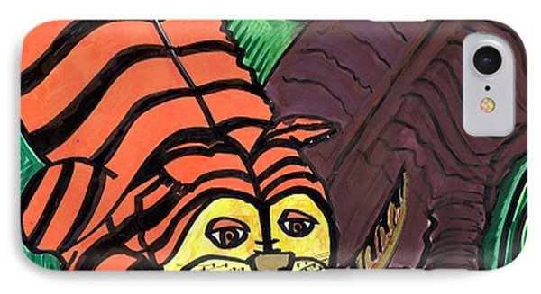 IPhone Case featuring the drawing Tiger And Buffalo by Don Koester