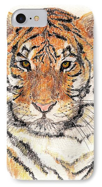 IPhone Case featuring the drawing Tiger Bright by Stephanie Grant