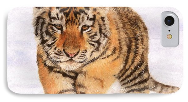 Tiger Cub In Snow Painting IPhone Case by David Stribbling