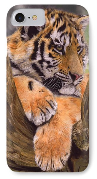 Tiger Cub Painting IPhone Case by David Stribbling