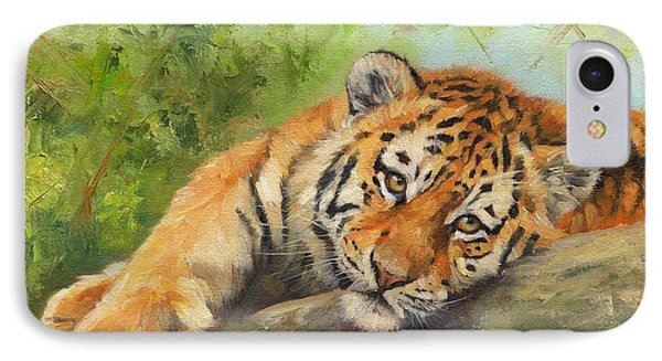 Tiger Cub Resting IPhone Case by David Stribbling