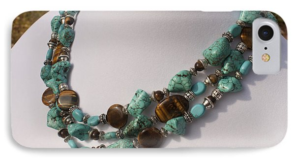 Tiger Eye And Turquoise Triple Strand Necklace 3640 IPhone Case by Teresa Mucha