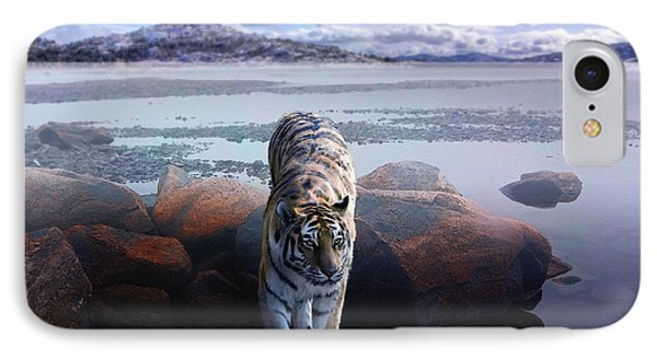 Tiger In A Lake IPhone Case by Pati Photography