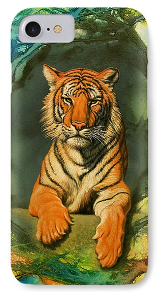 Tiger In Abstract Phone Case by Paul Krapf