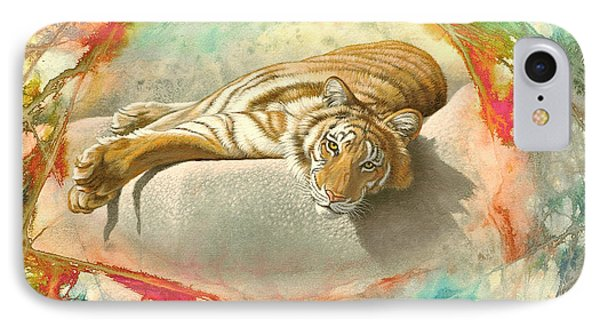 Tiger Laying In Abstract Phone Case by Paul Krapf