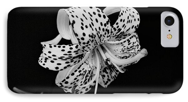 Tiger Lily In Black And White Phone Case by Sandy Keeton