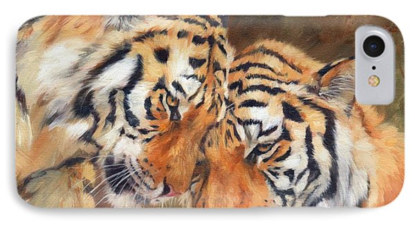 Tiger Love IPhone Case by David Stribbling