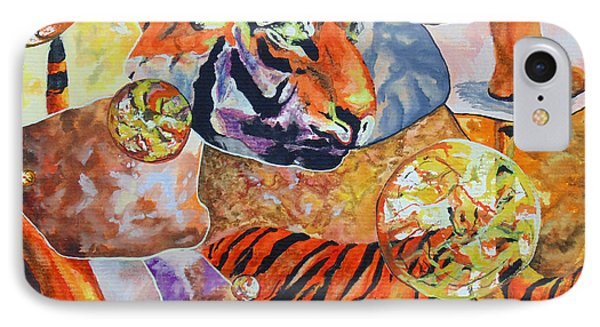 IPhone Case featuring the painting Tiger Mosaic by Daniel Janda