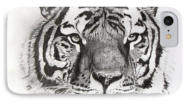 Tiger On Piece Of Paper IPhone Case by Kevin F Heuman