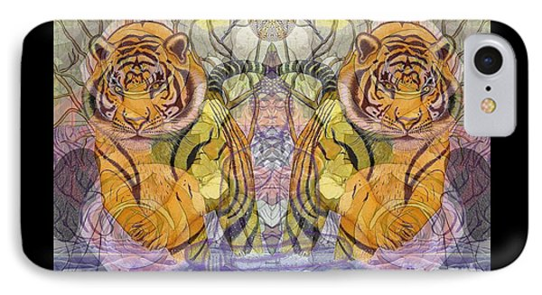IPhone Case featuring the painting Tiger Spirits In The Garden Of The Buddha by Joseph J Stevens