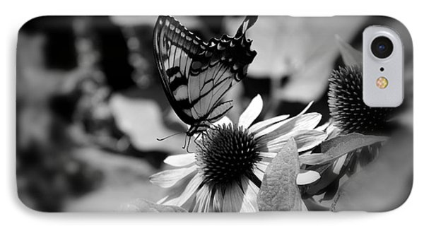 IPhone Case featuring the photograph Tiger Swallowtail In Black And White by Yumi Johnson