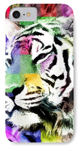 IPhone Case featuring the painting Tiger - Tigre by Ze  Di