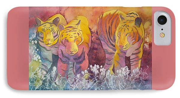 IPhone Case featuring the painting Tiger Trio by Nancy Jolley