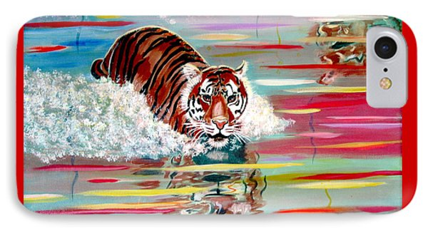 IPhone Case featuring the painting Tigers Crossing by Phyllis Kaltenbach