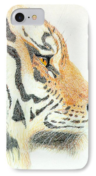 IPhone Case featuring the drawing Tiger's Head by Stephanie Grant