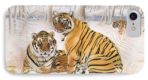 Tigers In The Snow, 2005 Acrylic On Canvas IPhone Case by E.B. Watts