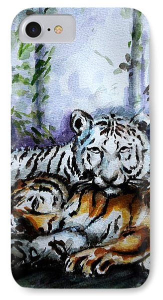IPhone Case featuring the painting Tigers-mother And Child by Harsh Malik