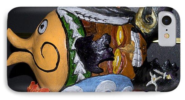 IPhone Case featuring the sculpture Tikifish by Suzette Kallen