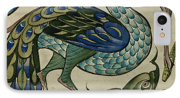 Tile Design Of Heron And Fish IPhone Case by Walter Crane