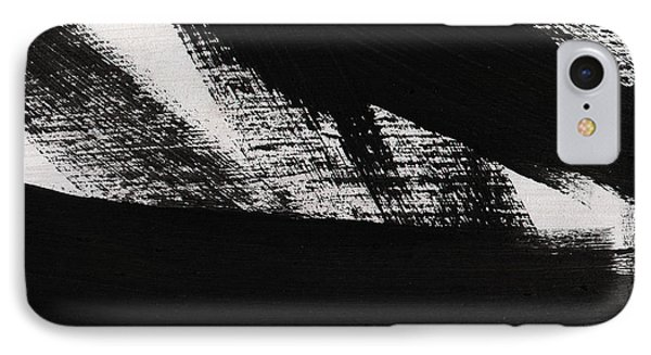 Timber 2- Horizontal Abstract Black And White Painting IPhone Case by Linda Woods
