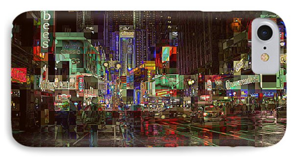 Times Square At Night - After The Rain IPhone Case by Miriam Danar