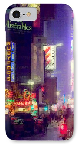 Times Square At Night - Columns Of Light IPhone Case by Miriam Danar