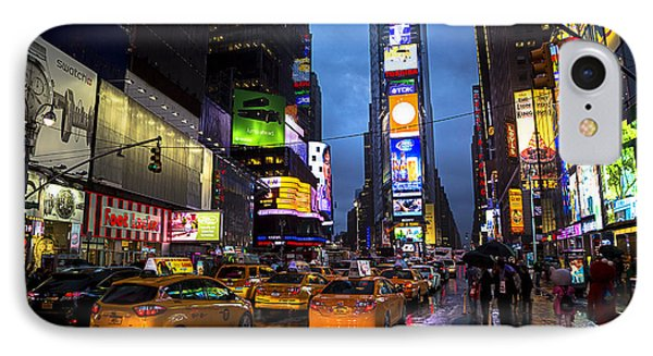 Times Square In The Rain IPhone Case by Garry Gay