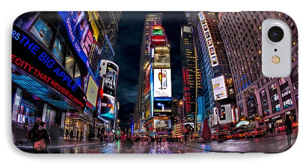 Times Square New York City The City That Never Sleeps IPhone Case by Susan Candelario