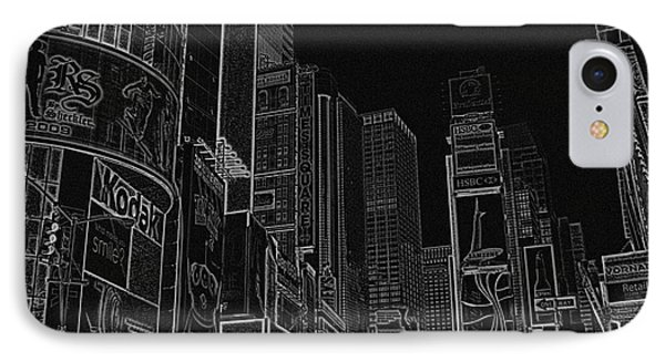Times Square Nyc White On Black Phone Case by Meandering Photography
