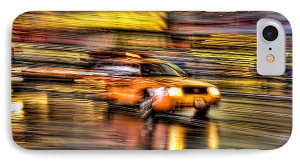 Times Square Taxi I IPhone Case by Clarence Holmes